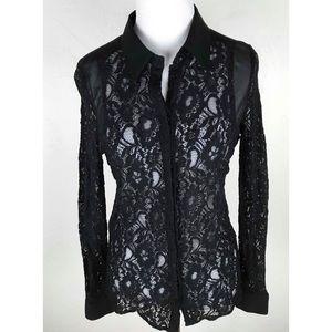 Stylestalker Black Lace Button Down